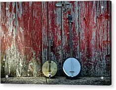Banjos Against A Barn Door Acrylic Print by Bill Cannon