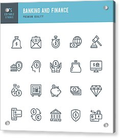 Banking And Finance  - Thin Line Icon Set Acrylic Print by Fonikum