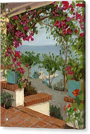Banning House Bougainvillea Acrylic Print by Alice Leggett