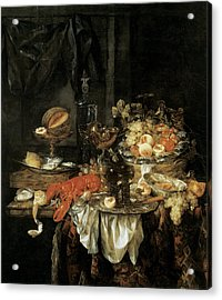 Banquet Still Life With A Mouse Acrylic Print by Abraham van Beyeren