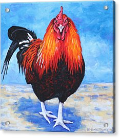 Acrylic Print featuring the painting Bantam Rooster by Penny Birch-Williams