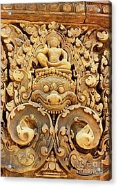 Banteay Srei Carving 01 Acrylic Print by Rick Piper Photography