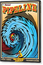 Banzai Pipeline Hawaii Surfing Acrylic Print by Larry Butterworth