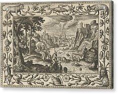 Baptism Of Christ, Adriaen Collaert, Eduwart Van Hoeswinckel Acrylic Print by Adriaen Collaert And Eduwart Van Hoeswinckel