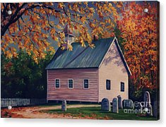 Baptist Church  Cades Cove Acrylic Print by John Clark