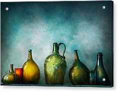 Bar - Bottles - Green Bottles  Acrylic Print by Mike Savad