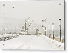 Bar Harbor Snowstorm And Fishing Boat Mount Desert Island Maine Acrylic Print by Keith Webber Jr