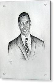 Barack Obama 2 Acrylic Print by Michael Morgan