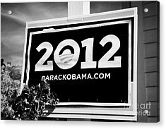 Barack Obama 2012 Us Presidential Election Poster Florida Usa Acrylic Print by Joe Fox