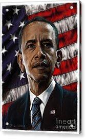 Barack Obama Acrylic Print by Andre Koekemoer