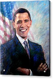Acrylic Print featuring the drawing Barack Obama by Viola El