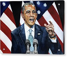 Barack Obama  Acrylic Print by Michael  Pattison
