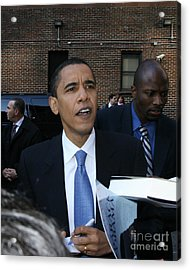 Barack Obama Nyc 4-9-07 Acrylic Print by Patrick Morgan