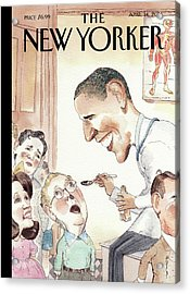 Barack Obama Spoon Feeds Medicine Acrylic Print