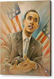 Barack Obama Taking It Easy Acrylic Print by Miki De Goodaboom