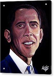 Barack Obama Acrylic Print by Tom Carlton
