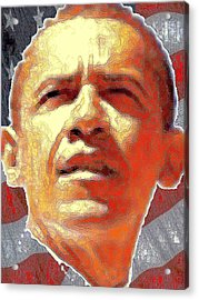 Barack Obama American President - Red White Blue Acrylic Print