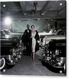Barbara Mullen With Cars Acrylic Print by John Rawlings