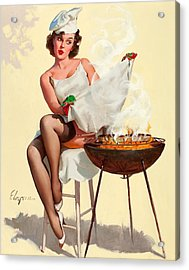 Barbecue Pin-up Girl Acrylic Print by Gil Elvgren