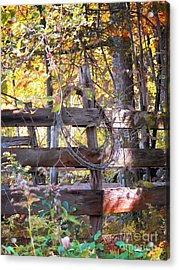 Barbed Wire On Fence Acrylic Print by Linda Marcille