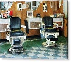 Barber - Corner Barber Shop Two Chairs Acrylic Print by Susan Savad
