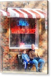 Barber - Neighborhood Barber Shop Acrylic Print by Susan Savad