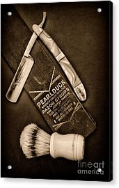 Barber - Tools For A Close Shave - Black And White Acrylic Print