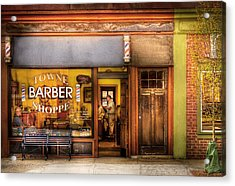 Barber - Towne Barber Shop Acrylic Print by Mike Savad