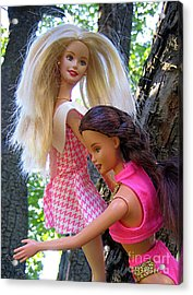 Acrylic Print featuring the photograph Barbie's Climbing Trees by Nina Silver