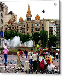 Barcelona - Abstract - Plaza De Catalunia Acrylic Print by Jacqueline M Lewis