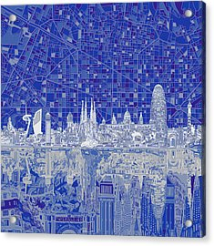 Barcelona Skyline Abstract 8 Acrylic Print