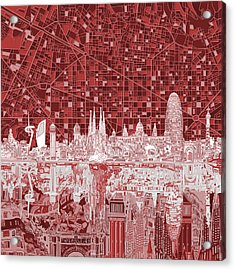 Barcelona Skyline Abstract Red Acrylic Print