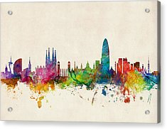 Barcelona Spain Skyline Acrylic Print