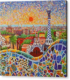 Barcelona Sunrise Light - View From Park Guell Of Gaudi - Square Format Acrylic Print