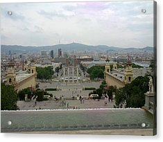 Barcelona-view From The Magical Fountain Acrylic Print by Shesh Tantry