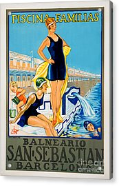 Barcelona Vintage Travel Poster Acrylic Print