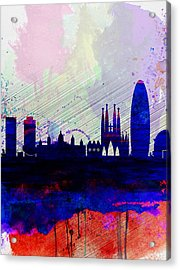 Barcelona Watercolor Skyline 2 Acrylic Print by Naxart Studio