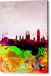 Barcelona Watercolor Skyline Acrylic Print by Naxart Studio