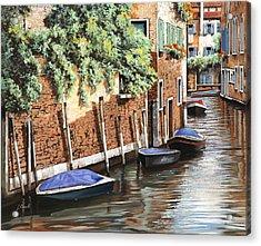 Barche A Venezia Acrylic Print by Guido Borelli
