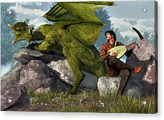 Bard And Dragon Acrylic Print by Daniel Eskridge