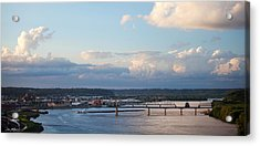 Barge Heads Up River Acrylic Print