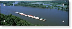 Barge In A River, Mississippi River Acrylic Print