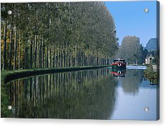 Barge On Burgandy Canal Acrylic Print by Carl Purcell