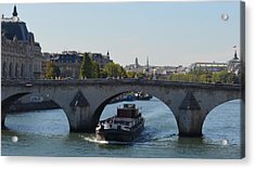 Barge On River Seine Acrylic Print