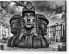 Bargoed Miners 2 Mono Acrylic Print by Steve Purnell
