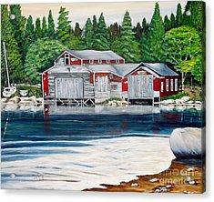Barkhouse Boatshed Acrylic Print by Marilyn  McNish