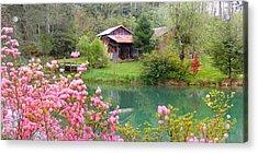 Barn And Flowers Near Pond Acrylic Print