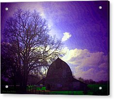 Barn And Oak Digital Painting Acrylic Print by Joyce Dickens