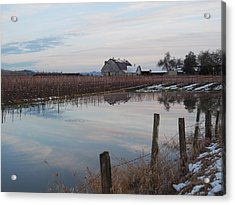 Barn And Reflection Acrylic Print by Karen Molenaar Terrell