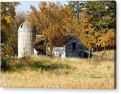 Barn And Silo 2 Acrylic Print by Steven Clipperton